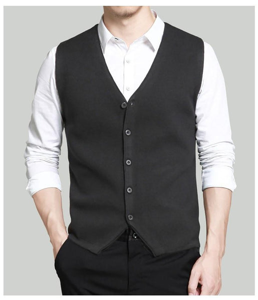Men's Vest Casual Wool Knitted Single Breasted Big Size