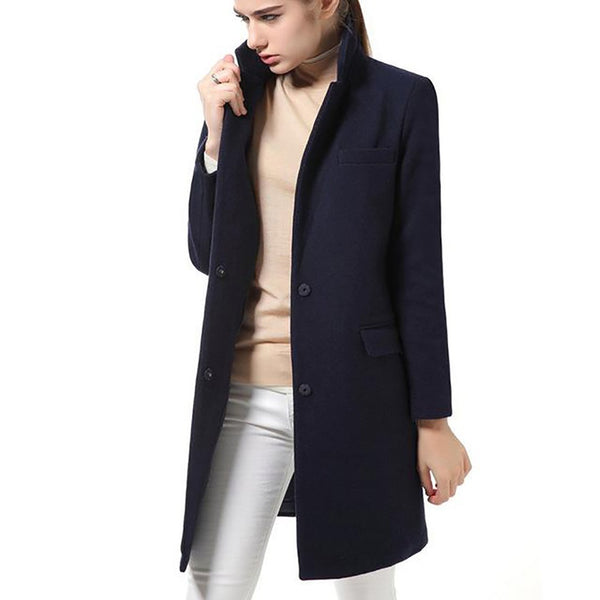 Women's Coat Wool Slim Long Cashmere Elegant Blend for Winter