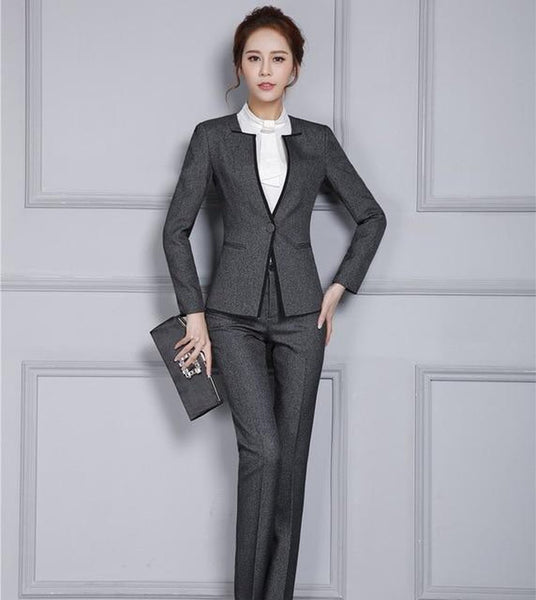 Women's Jacket and Pant Set Professional for Autumn Winter Office Business