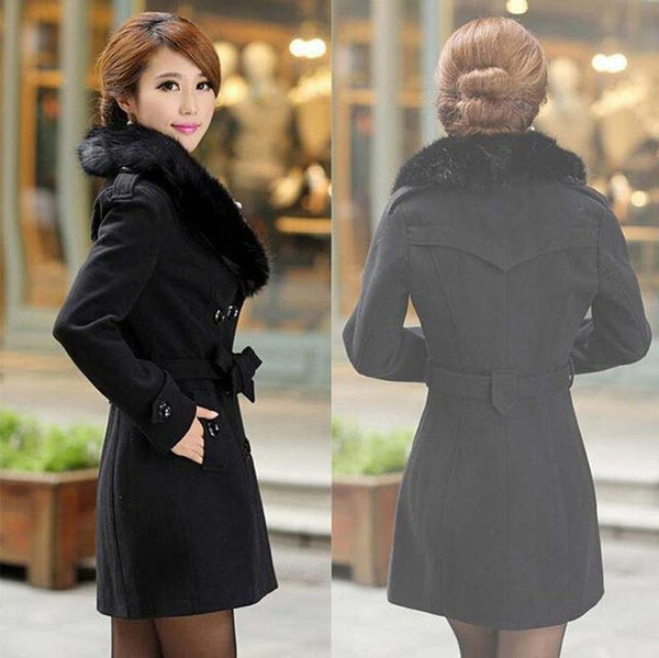 Women's Coat Plus Size Slim Big Fur Collar Double Breasted Wool Blended fpr Winter
