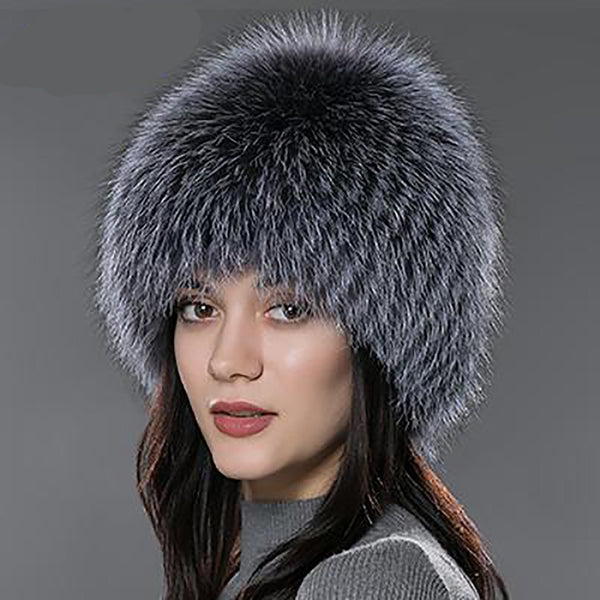 Women's Hat Fox Fur Knitted Russian for Winter
