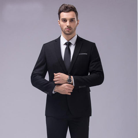 Men's Coat and Pants Suit 2pcs/set Slim Fit Notch Lap; for Wedding Groom Business