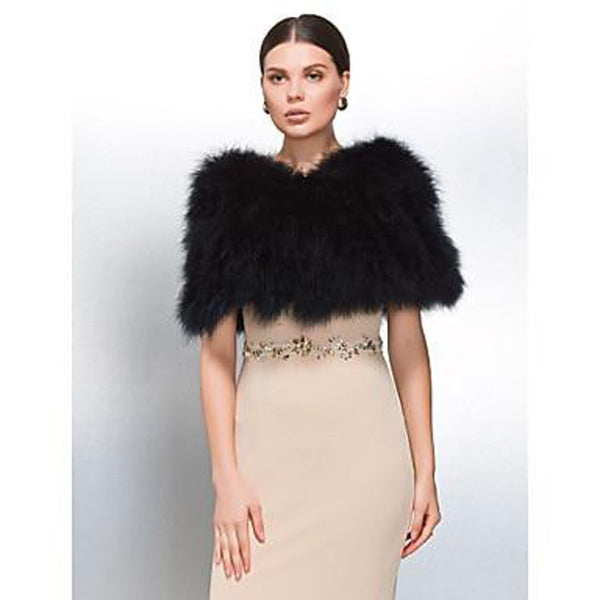 Women's Feather Wrap Fur for Bridal Wedding Party