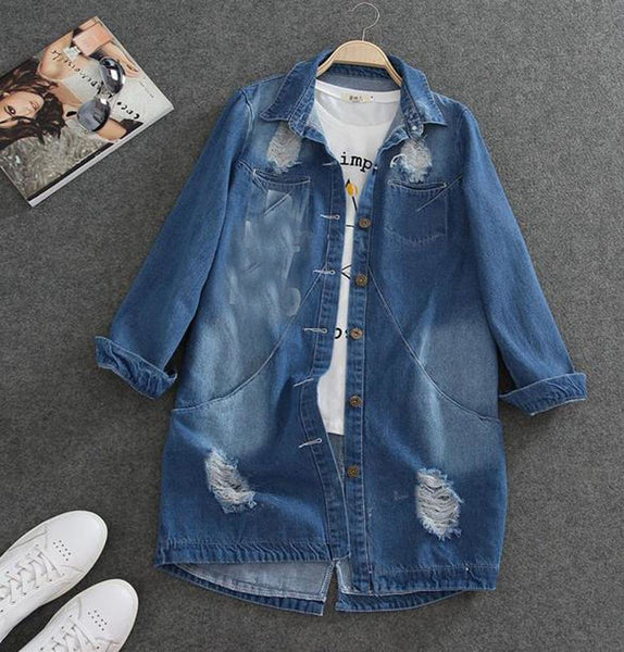 Women's Jacket Denim Turn Down Collar Hole Long Sleeve Casual Jean Plus Size Outwear for Spring