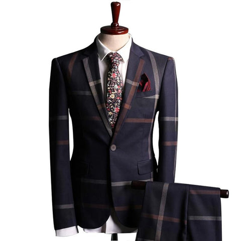 Men's Blazer and Pant Suit 2pcs/set Slim Fit Plaid Noch Lapel Formal Plus Size for Business