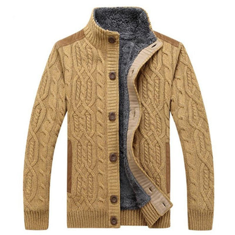 Men's Sweater Warm Thick Velvet Single Breasted Casual Pattern Knitwear for Winter