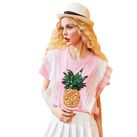 Women's T-shirt Pineapple Sequins Beading Lace Decoration Casual for Summer