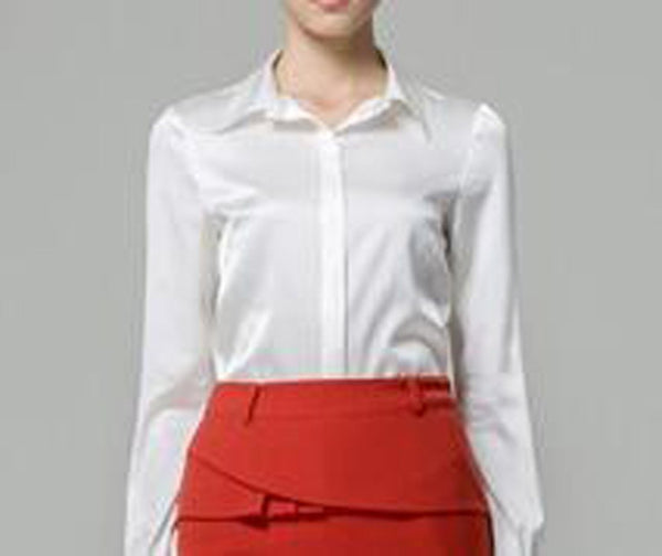 Women's Shirt Silk Satin Button Casual Long Sleeve for Office