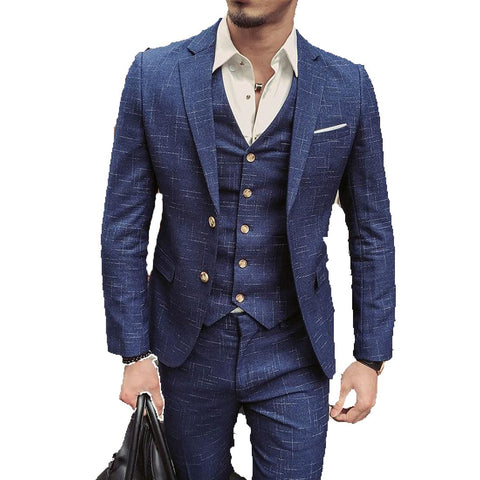 Men's Jacket Pants and Ves Suit 3pcs/set Formal Plaid for Wedding