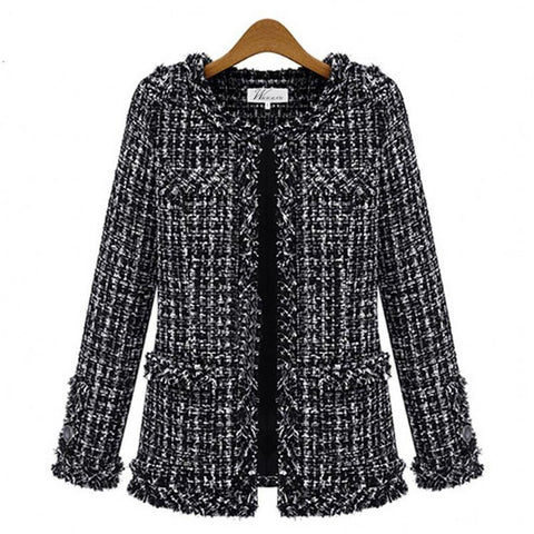 Women's Jacket Slim Thin Tweed Large Size Casual O-neck Plaid Pocket Outwear for Autumn Winter
