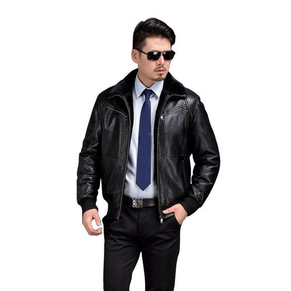 Men's PU Leather Jacket Thicken Fur for Winter Biker