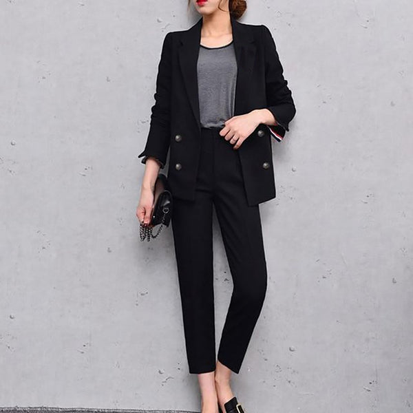 Women's Blazer and Pants Suit Set Formal Casual Elegant for Office Business Work Uniform