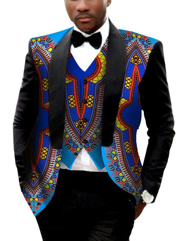 Men's Blazer and Vest Suit Set African Style Printed Large Size