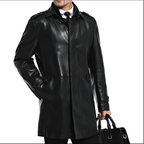 Men's Leather Jacket Sheepskin Casual Long for Autumn
