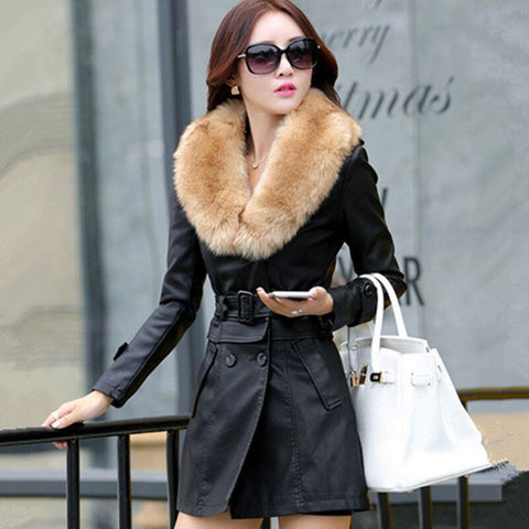 Women's Jacket Long Leather Big Fur Collar Thick Cotton Slim Windbreaker for Winter