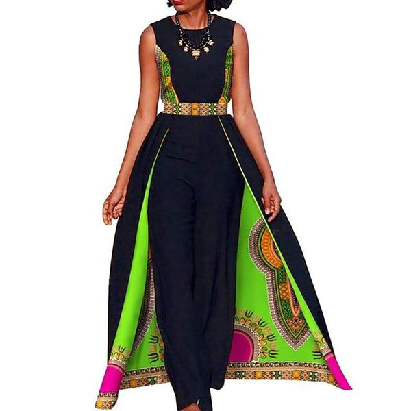 Women's Long Jumpsuit Elegant Sleeveless Plus Size African Design for Summer