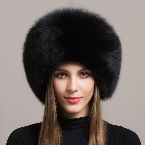 Women's Hat Real Fox Fur Warm Thick Natural Sheepskin for Winter