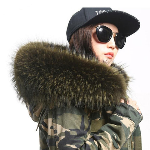 Women's Coat Natural Raccon Fur Collar Hooded