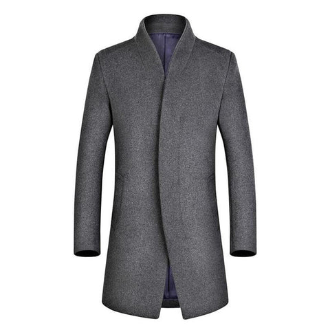 Men's Coat Casual Wool Slim Fit Long Trench for Business