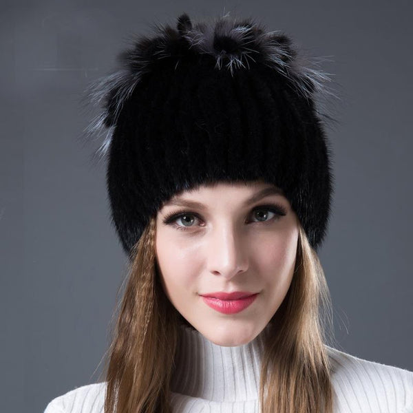 Women's Hat Mink Fox Fur for Winter
