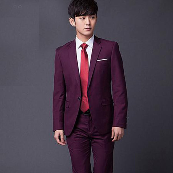 Men's Jacket Pant and Tie Formal Suit Slim Fit Classic for Wedding Party