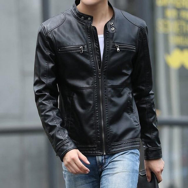Men's Leather Jacket Stand Collar Casual Slim Motorcycle