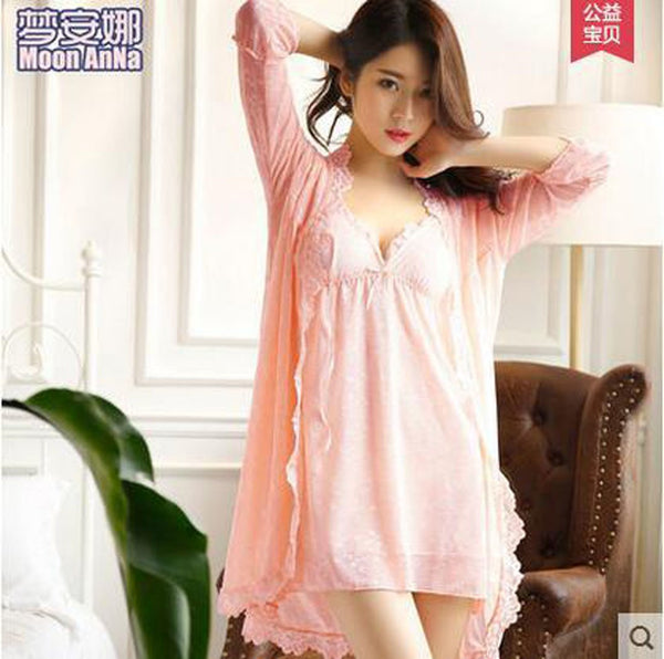 Women's Sleepwear Twinset Spaghetti Strap Belt Pad Lace Princess Style for Spring Autumn