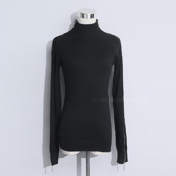 Women's Sweatshirt Knitting Zipper Long Sleeve Turtleneck Off Shoulder Korean