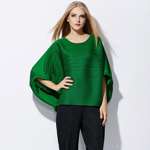 Women's T-shirt Plus Size Pleated Loose Batwing Sleeve O-neck Casual