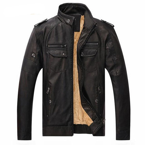 Men's Jacket Faux Leather Casual Suede for Motorcycle Winter