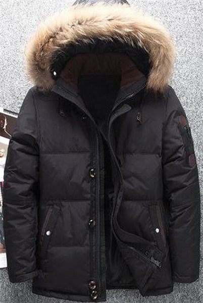 Men's Jacket Fur Hood Duck Down Warm Casual Outwear for Winter