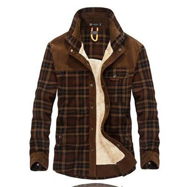Men's Shirt 100% Cotton Military Fleece Warm Plaid Long Sleeve for Winter