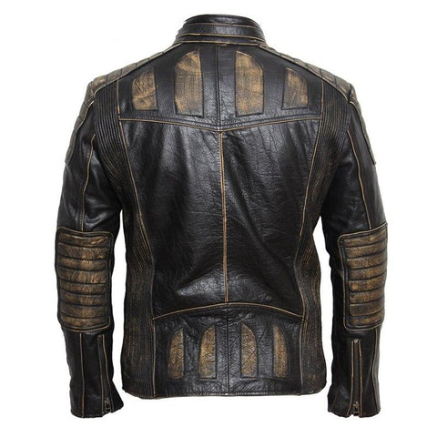 Men's Jacket Vintage Leather 100% Cowhide for Motorcycle Biker