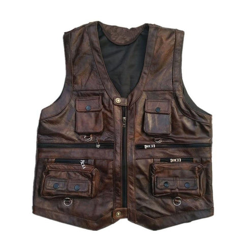 Men's Jacket Leather Real Motorcycle Many Pockets Sleeveless Photography