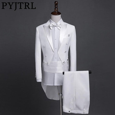 Men's 4 pcs Suit Set Plus Size Tail Coat Classic dor Wedding Groom Stage Singer