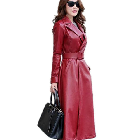 Women's Jacket Elegant PU Leather Single Button Waistband Long Velvet