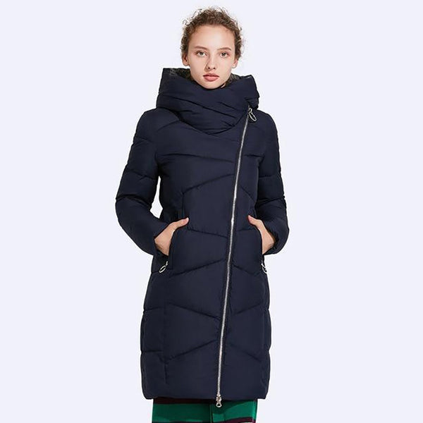 Women's Coat Non-removable Hat Windproof Sleeve Opening Warm Medium Length