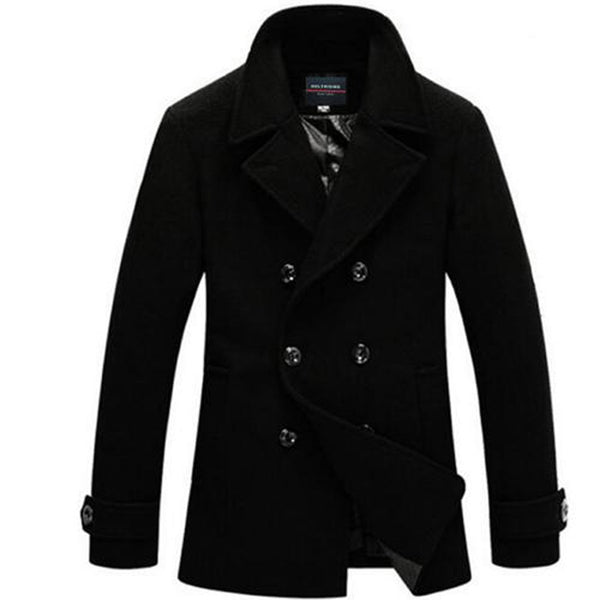 Men's Coat Cashmer Medium Long Wool for Winter