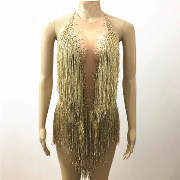 Women's Bodysuit Sparkly Tassel Rhinestones Glisten Beads Costume for Dance Singer Stage