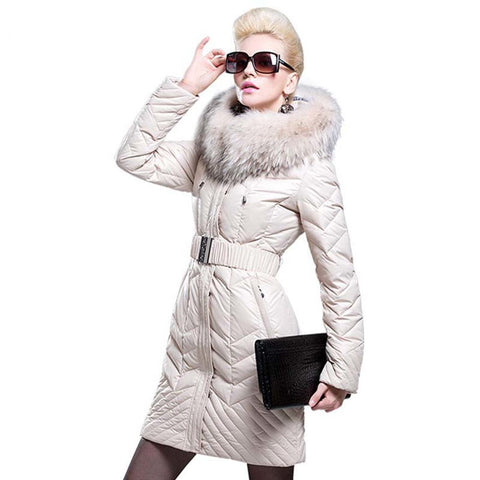 Women's Down Jacket Thickening Large Fur Collar Medium-long for Winter