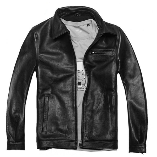 Men's Leather Jacket Real Plus Size Cowhide for Motorcycle Biker Winter