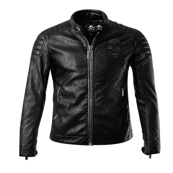 Men's Leather Jacket Casual Motorcycle Skull