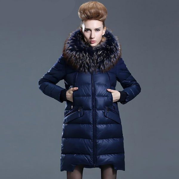 Women's Coat Medium-long Down Thickening Loose Luxurious Outwear