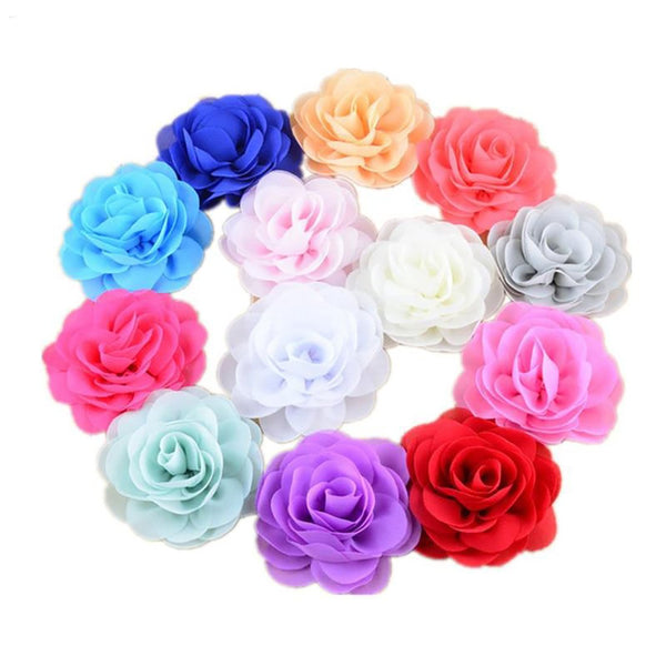 Girl's Headband 200pcs/lot 3.15inch Chiffon Silk Rosette Flowers Garment DIY Supply