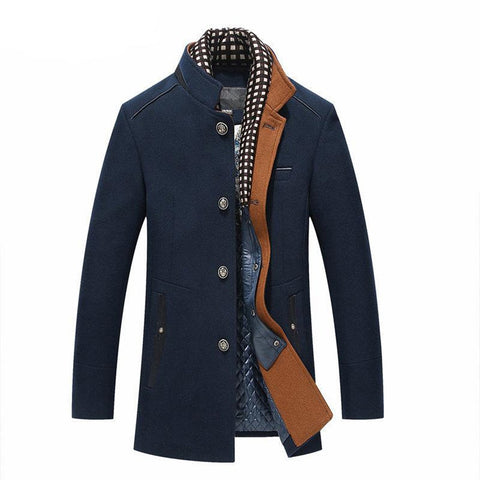 Men's Coat Trench Thicker Long Wool Slim Fit Casual Double Collar for Winter