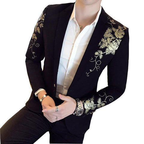 Men's Blazer Flower Print Stylish Slim Fit for Party Wedding Festival Stage Costumes Singer