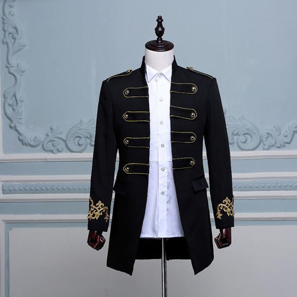 Men's Jacket Double Breasted England Style Long Slim Fit Costume for Wedding Groom Stage Singer