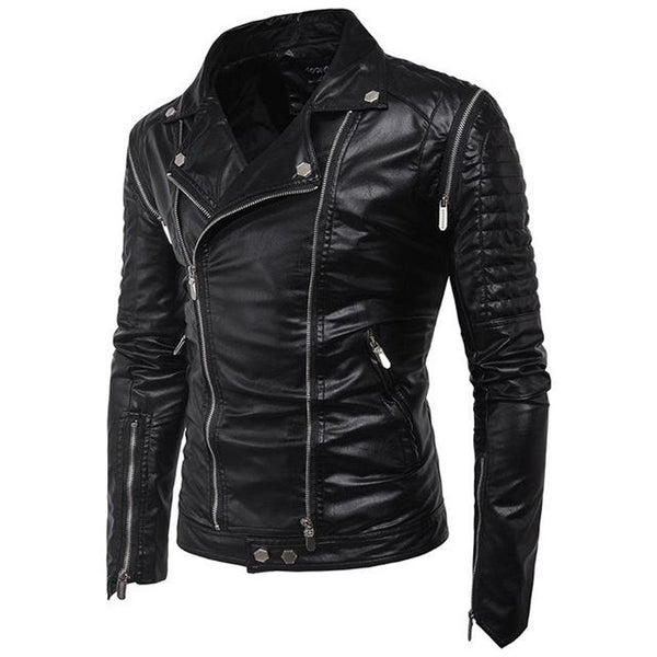 Men's Jacket PU Leather Casual Windproof for Winter Motorcycle