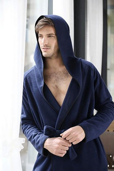 Unisex Adult's Bathrobe Hooded Microfiber Fleece Ultra Long Sleepwear Plus Siize Couples