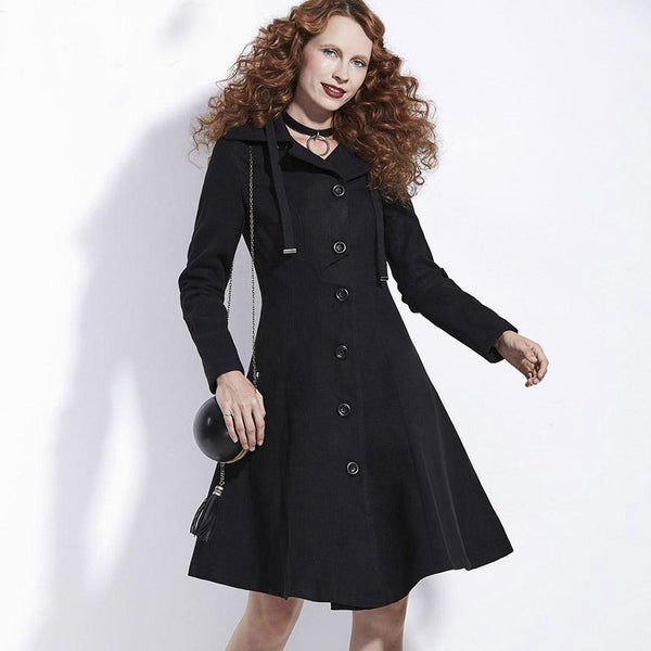 Women's Coat Gothic Asymmetric Trench Retro Slim Outwear Button Vintage for Autumn